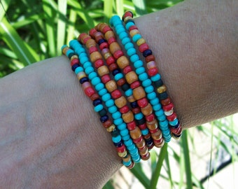 Colorful Beaded Stretch Bracelets, Wood and Czech glass beaded Bracelets, Festival Bracelet Set - 7-stack bracelets - Bohemian Hippie II -