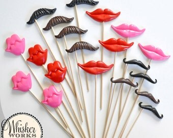 Photo Booth Prop Kit - Set of 20 Mustaches and Smiles