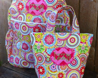 Personalized Zippered Toddler Backpack and Lunch Pail Set