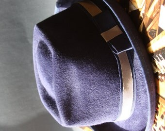 Navy Blue  Hat Fur Felt Luxe Millinery Women Men Fedora  Trilby English Millinery Sharp Chic  Menswear