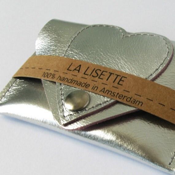 LA LISETTE / Silver metallic / leren pas houder / hart / visitekaart houder / etui / portemonnee