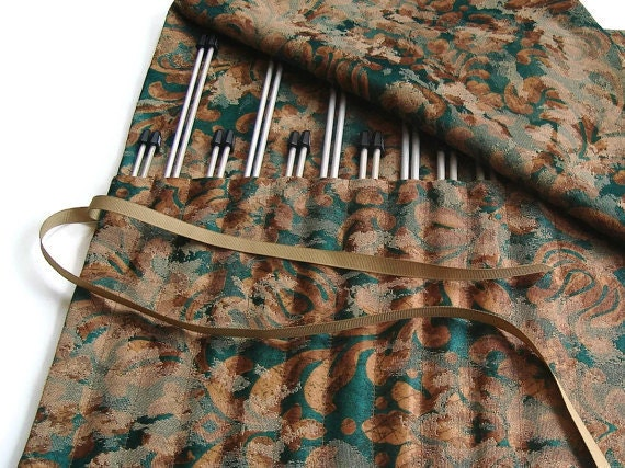 Knitting Needle Case Brown Green Organizer Roll Up Case