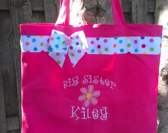 Large Big sister tote- pink flower- personalized at no additional cost