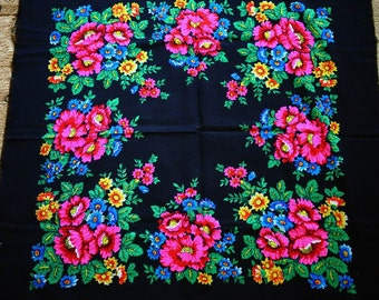 "Russian Shawl Scarf Vintage  - Floral Roses Pink Blue Flowers on Black - Wool - 35"" inches - From Russia / Soviet Union / USSR"