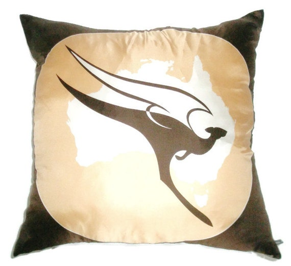 SALE! Qantas Vintage Oroton Scarf Cushion Cover : Silk Mustard Cream Chocolate Brown Kangaroo Australian Airline Nostalgia Collectable OOAK