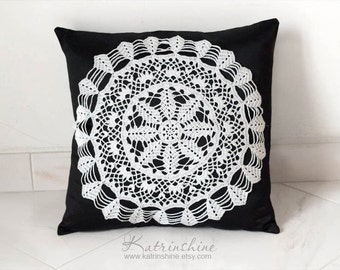 Black and white Pillow Cover With Crocheted Doily Applique OOAK decorative accent pillow