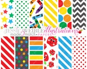 Made 2 Match School Frames Cute Digital Papers - Commercial Use Ok - School Pattern Papers, Crayon Papers, Apple Papers
