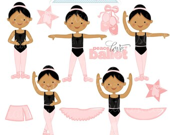 Ballerina Positions Dark Cute Digital Clipart - Commercial Use OK - Ballerina Clipart, Ballerina Graphics