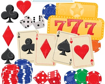 Gamblers Choice Clipart - Commercial Use OK - Poker Clipart, Gambling Graphics, Dice Clipart, Poker Chips