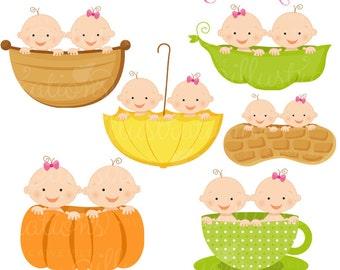 Twin Boy and Girl Baby in A Cute Digital Clipart - Twins in Peapod, Twins in Teacup, Twins in Umbrella, Twins in Peanut, Twins in Pumpkin