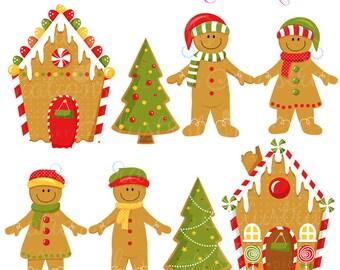 Gingerbread Village Cute Digital Clipart - Commercial Use OK - Gingerbread Clipart, Gingerbread Man, Christmas Graphics