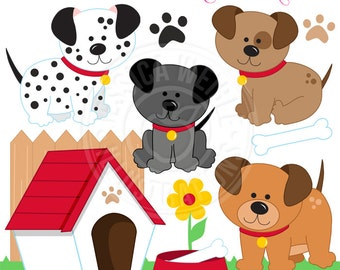 Dog Days Cute Digital Clipart for Invitations, Card Design, Scrapbooking, and Web Design, Dog Clipart
