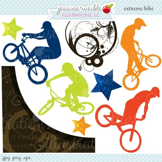 Extreme Bike Grunge Digital Clipart - Commercial Use OK - Bicycle Graphics, Bicycle Sports Clipart, BMX Graphics