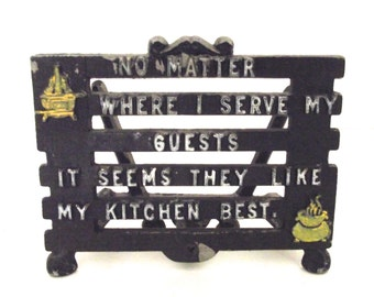 Vintage Painted Metal Napkin Holder with Funny Saying