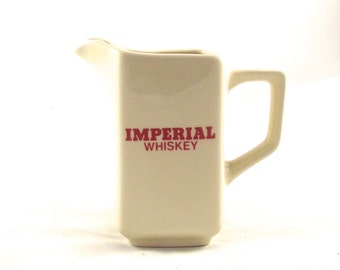 Sale 50% Off, Imperial Whiskey Pitcher, Vintage Ceramic Bar Decanter in Ivory with Red Printing