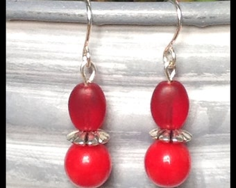 Paint Me Red Sterling Silver Dangle Earrings, Basic Red Dangle Sterling Silver Ear Wires