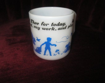 Hazel Atlas Milkglass Childs mug, Children, Coffee Cup, Milk glass
