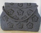 Collectible Vintage GRAY Beaded Evening Bag Purse