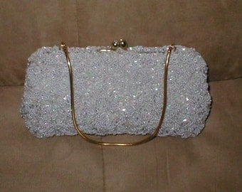 Vintage dove gray Beaded Evening Bag Purse