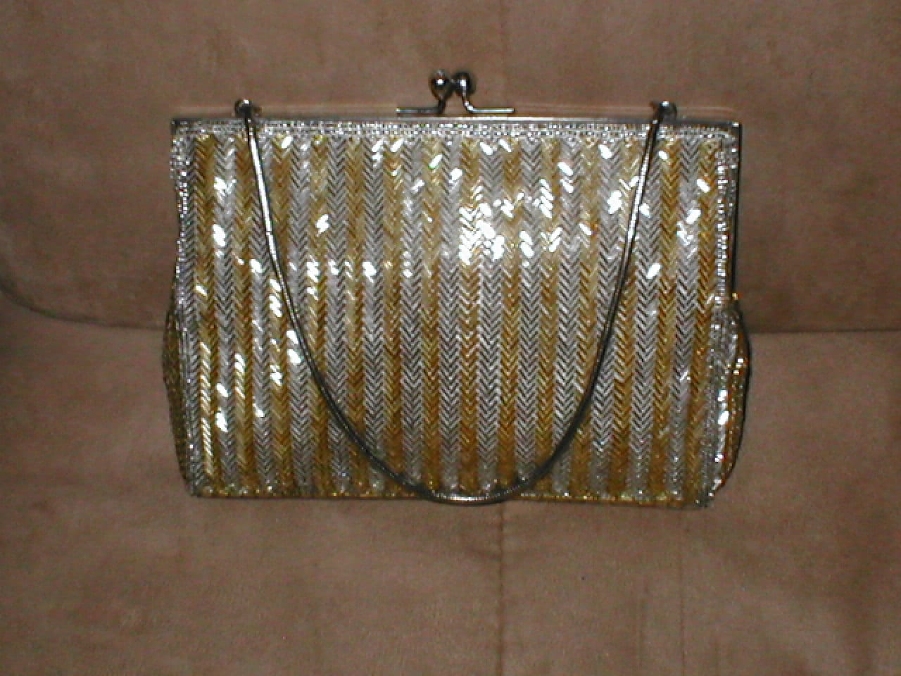 vintage silver gold beaded evening purse