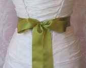 Double Face Fern Green Satin Ribbon, 1.5 Inch Wde, Light Green Bridal Sash, Pear, Chartreuse Ribbon Sash, Wedding Belt, 4 Yards