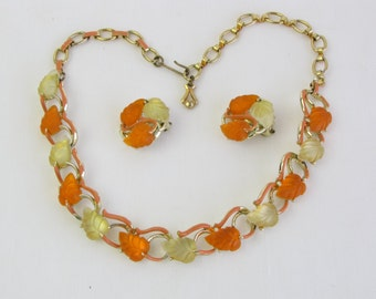 Vintage 1950s Orange and Lemon Yellow Lucite Necklace and Earring Set Signed Star