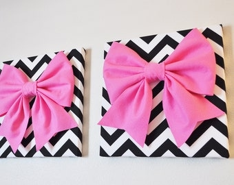 """TWO Large Pink Bow on Black and White Chevron 12 x12"""" Canvas Wall Art- Baby Nursery Wall Decor- Zig Zag"""