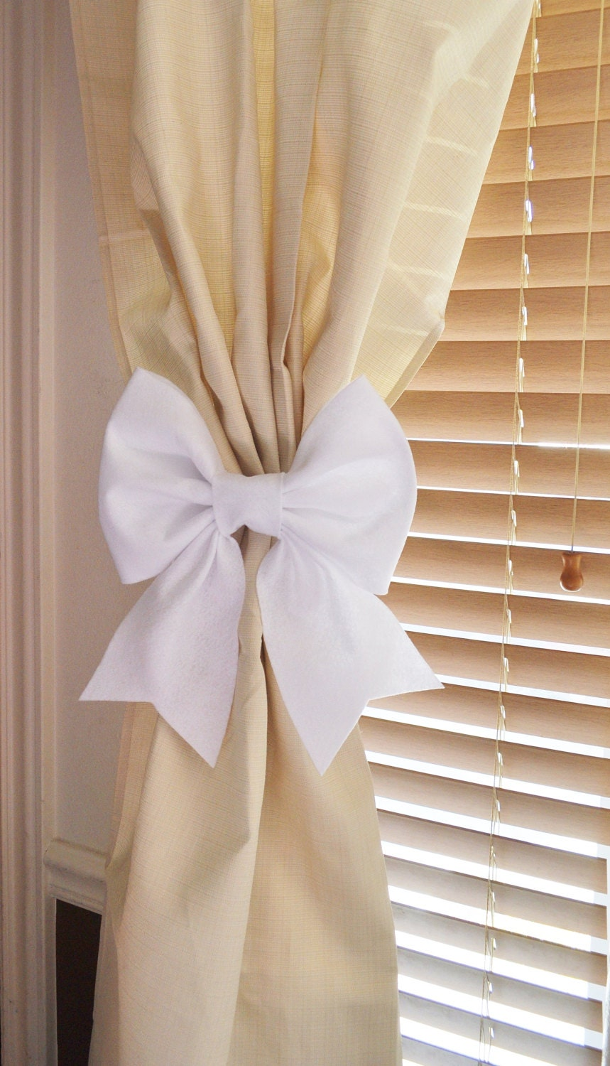 White Bow Curtain Tie Backs Two Decorative Tiebacks By