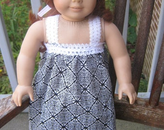 18 Inch Doll Nightgown, black and white pajamas for 18 inch doll