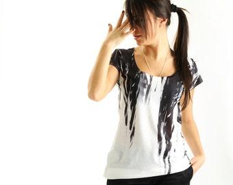 NEW! Black Women T shirt, one side printed, summer fashion