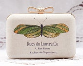French Butterfly Box Clutch Hand Dyed Green Yellow Beige Purse Party Clutch Ivory Linen Bridesmaid Bridal Golden Clutch Wedding Minaudiere