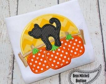 Pumpkin moon applique embroidery design