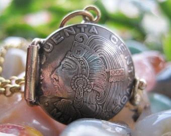 Mexico Mexican Cuauhtémoc Cinquenta Centavos Coin Locket Pendant MADE TO ORDER.