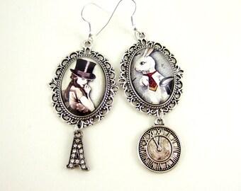 Steampunk Earrings- Steampunk Alice In Wonderland Earrings- Statement Earrings- Victorian Steampunk Fantasy Earrings- Steampunk Wonderland