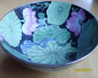 Chinese Porcelain, Famille Noir Chinese Black Porcelain Bowl, Chinese Porcelain, Lotus Bowl
