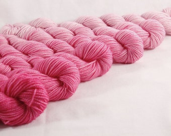 Dyed for YOU Mini Skeins Ombre Gradient Dyed DK or Fingering - Hot Pink Ombre