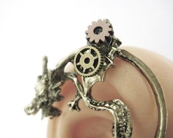 Steampunk Jewelry - Dragon Ear Cuff - Dragon Earcuff - Dragon Jewelry - Gold Ear Cuff