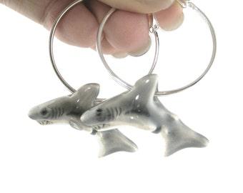 Great White Shark Earrings - Silver Hoop Earings - Shark Jewelry - Animal Jewlery - Ocean Earrings - Shark Gift