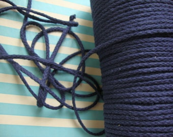 "25 yards 1/4"" ( 6.35 mm ) navy blue cotton cord rope"