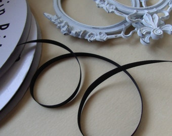 "Stunning 200 yards 1/4"" (6.3 mm) width black satin ribbon trim"
