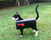 Handmade Custom Wooden Functional Tuxedo Cat Mailbox