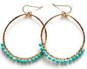 Large Turquoise Earrings - Large Gold Turquoise Arc Hoops - Sleeping Beauty Turquoise & 14K Gold Filled, Sterling Silver, or Rose Gold