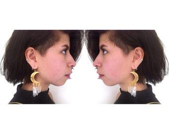 Brass Moon Earrings/ Quartz Crystal Earrings/ Natural Gem Stone Earrings/ Dangle Earring/ Geode Earrings/ Cresent Moon Earrings