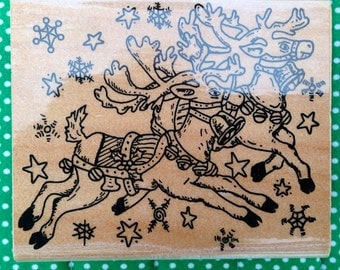 Wood-Mounted Christmas Reindeer Rubber Stamp