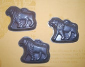 Vintage Tin Chocolate Molds - Three Lions - Distressed Metal - 1950's Never Used with Tags - Animal Crackers