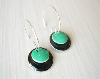 Black  Earrings, Enamel Jewelry, Modern Hoops, Teal, Geometric, Contemporary, Silver