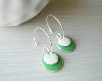 Enamel Earrings - Mint Green Jewelry, Pastel, White, Silver Hoops, Geometric, Modern, Simple, Jadeite