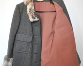 Sale Use PromoCode for Discount Vintage Wool Gray and Fur Jacket