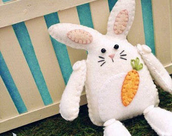 Bunny Sewing Pattern PDF - Stuffed Animal Felt Plushie - Flopsy the Rustic Bunny