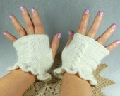 Hand Knit Fingerless Mitts in White Angora and Wool